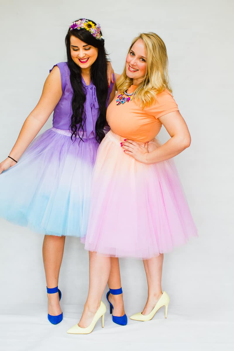 DIY ombre tulle skirts two tone blue purple orange pink