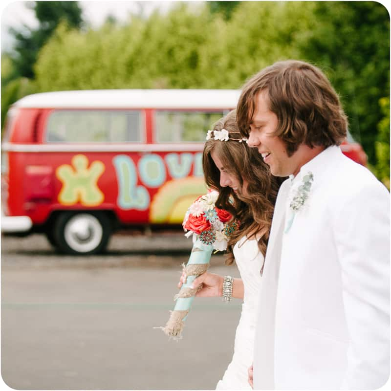 Retro campervan hippie wedding with chevrons & succulents-23
