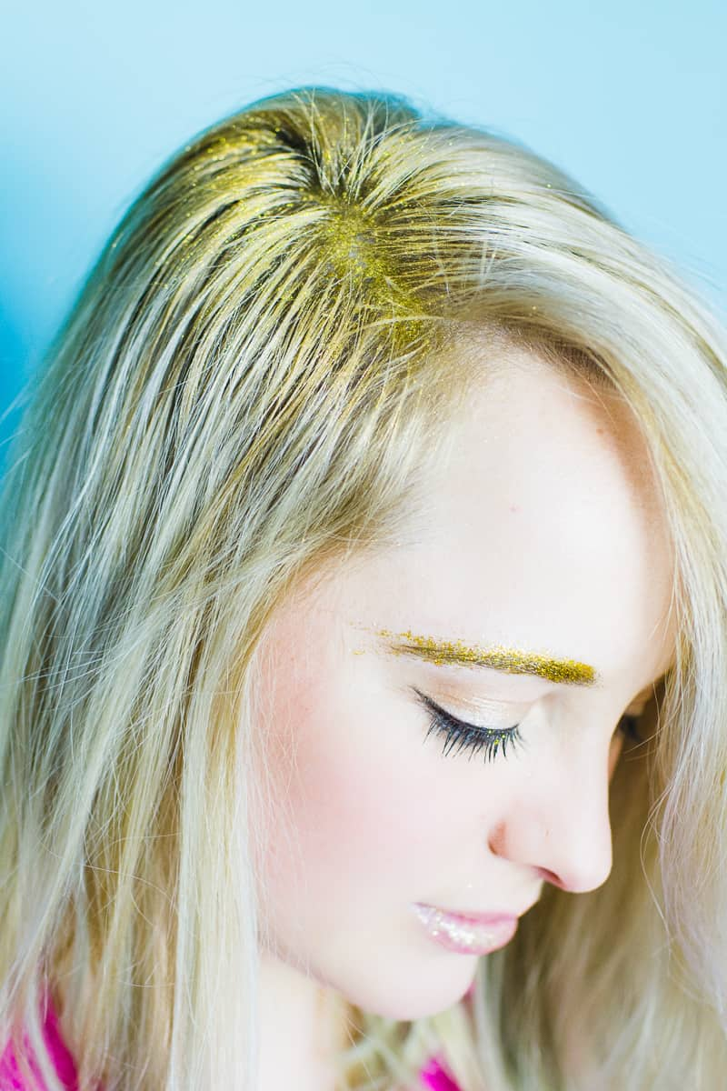 Christmas makeup looks glitter gold ways to wear hairline eyeshadow lipstick nails fun golden sparkle-8
