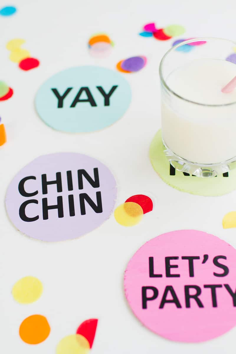 Coaster DIY party mems fun colourful typography font hooray lets party OMG pastels chin chin yay new years eve party DIY tutorial-3
