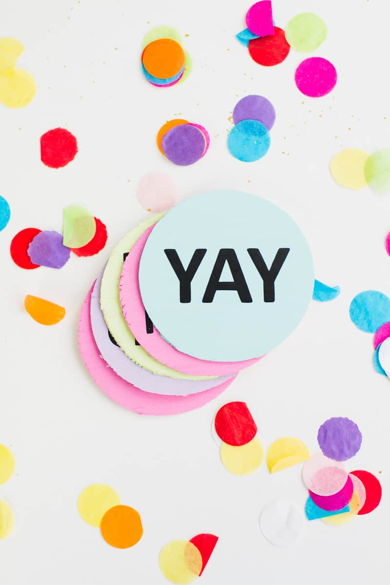 Coaster DIY party mems fun colourful typography font hooray lets party OMG pastels chin chin yay new years eve party DIY tutorial-4
