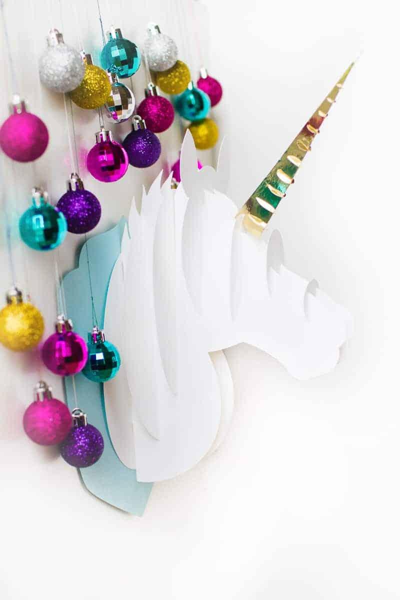 Unicorn head DIY christmas decoration tutorial 3d papercraft cricut card xmas modern_-3