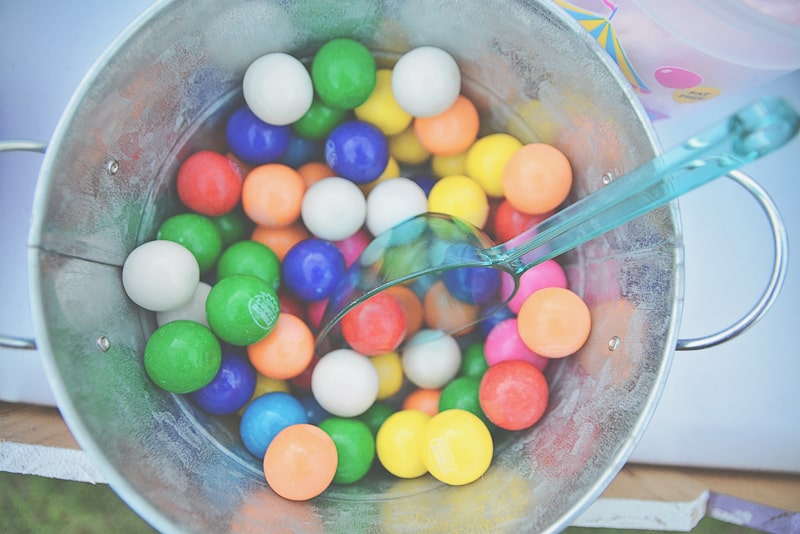 Carnival themed wedding backyard colourful sweet stand candy popcorn-10