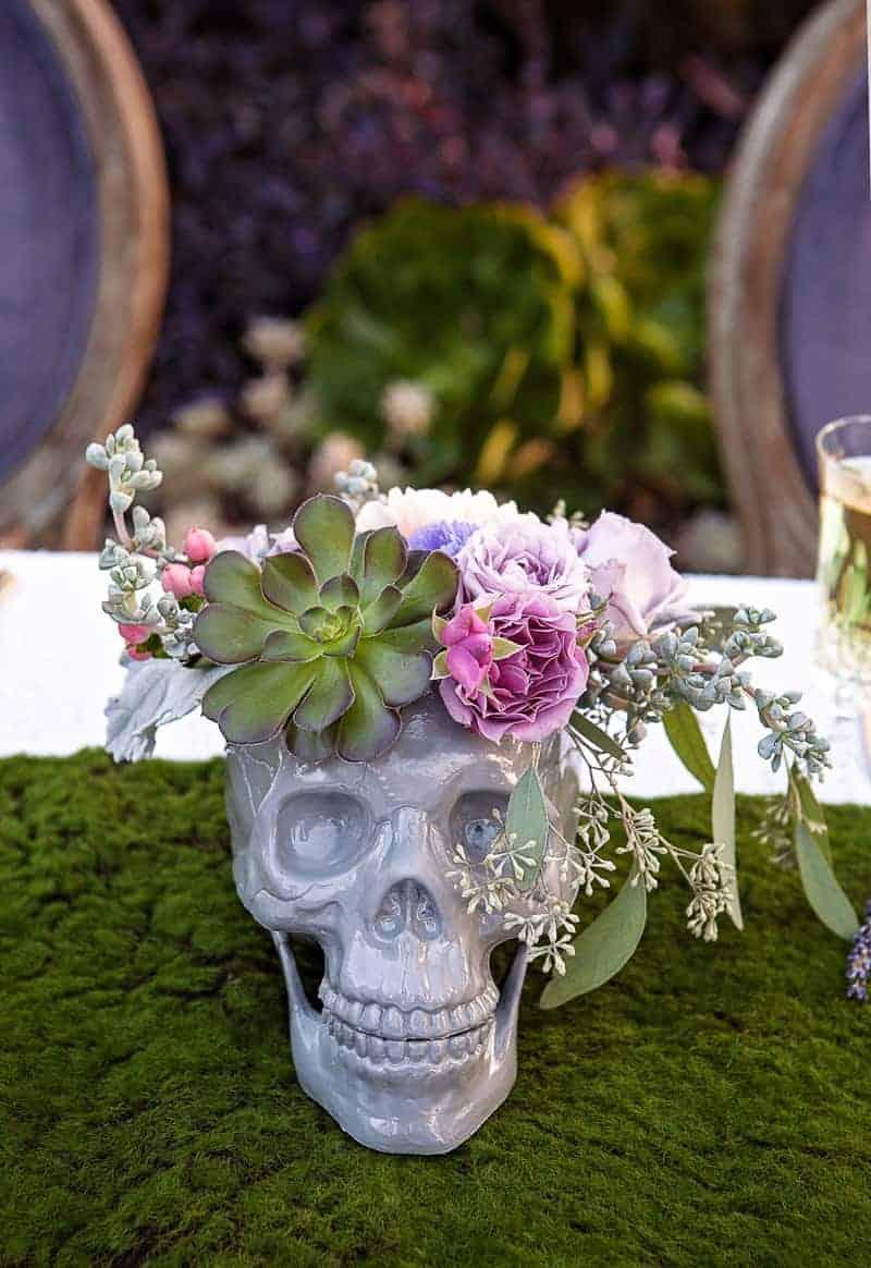 Spring style wedding inspiration skull theme scheme pastel colours modern_-17