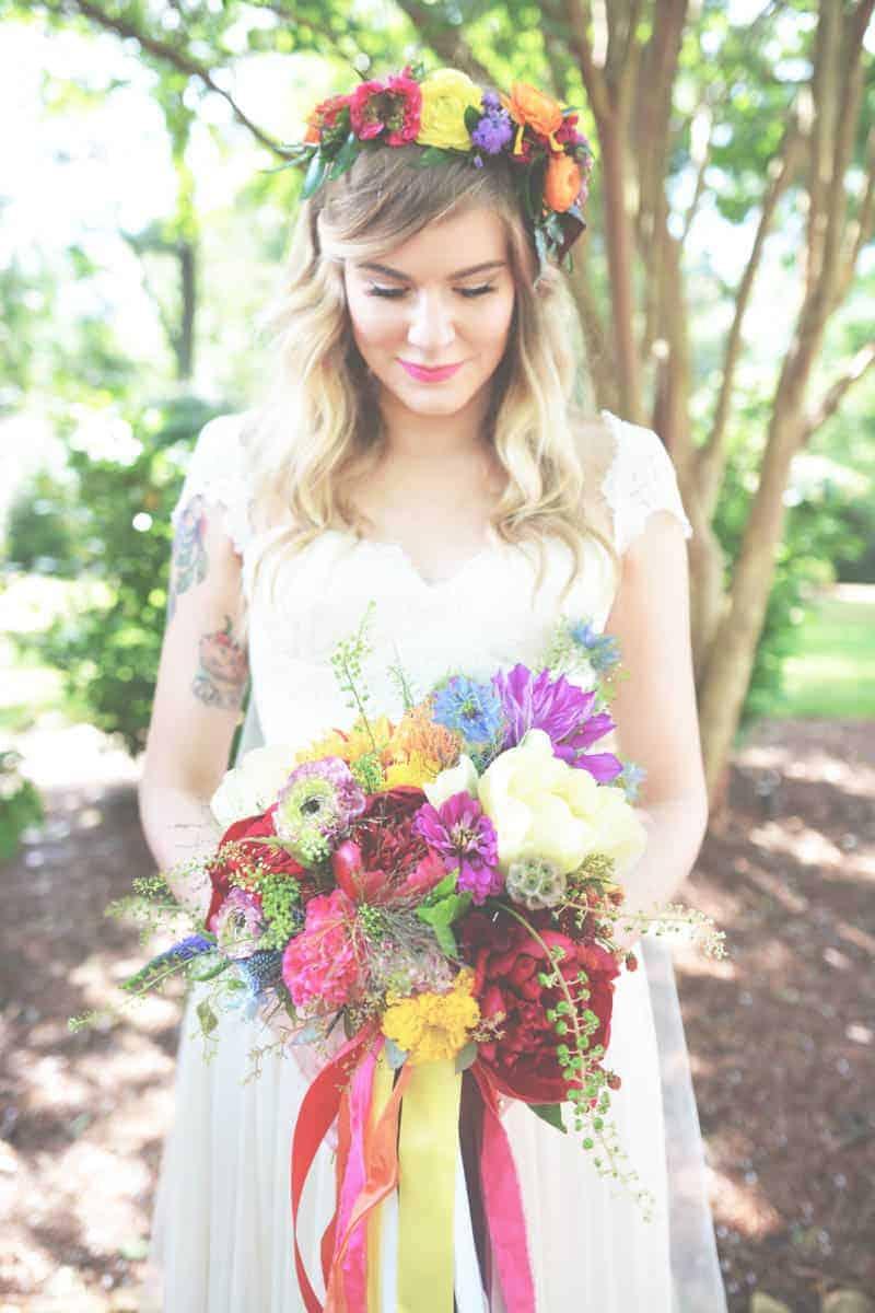 10 ways to wear bangs at your wedding bespoke bride wedding blog a sweet bohemian wedding brides with long bangs flower crown izmirmasajfo