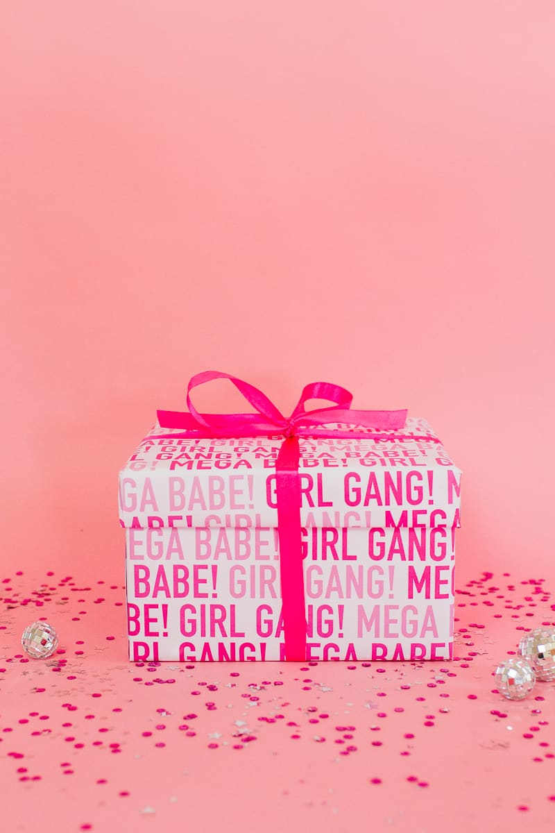DIY Hen Party Kit Girl Gang Fun Box Pink Free Printable Wrapping Paper Gift Wrap Goodies-2