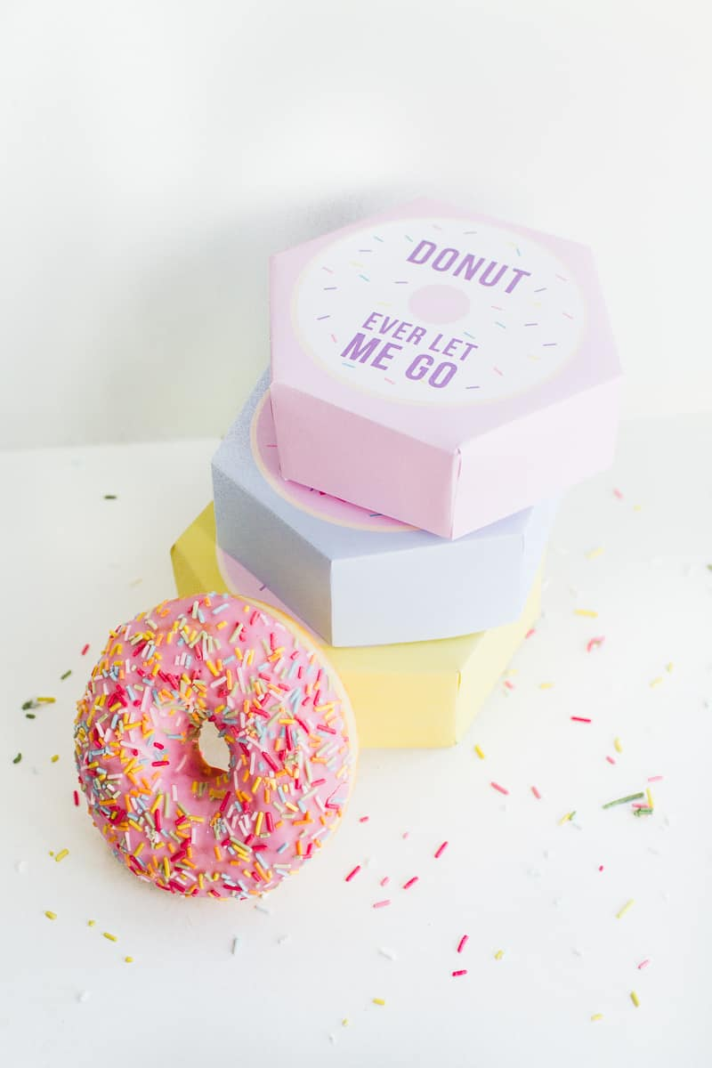 DIY donut boxes valentines day puns doughnuts case cute fun tutorial free printable-1