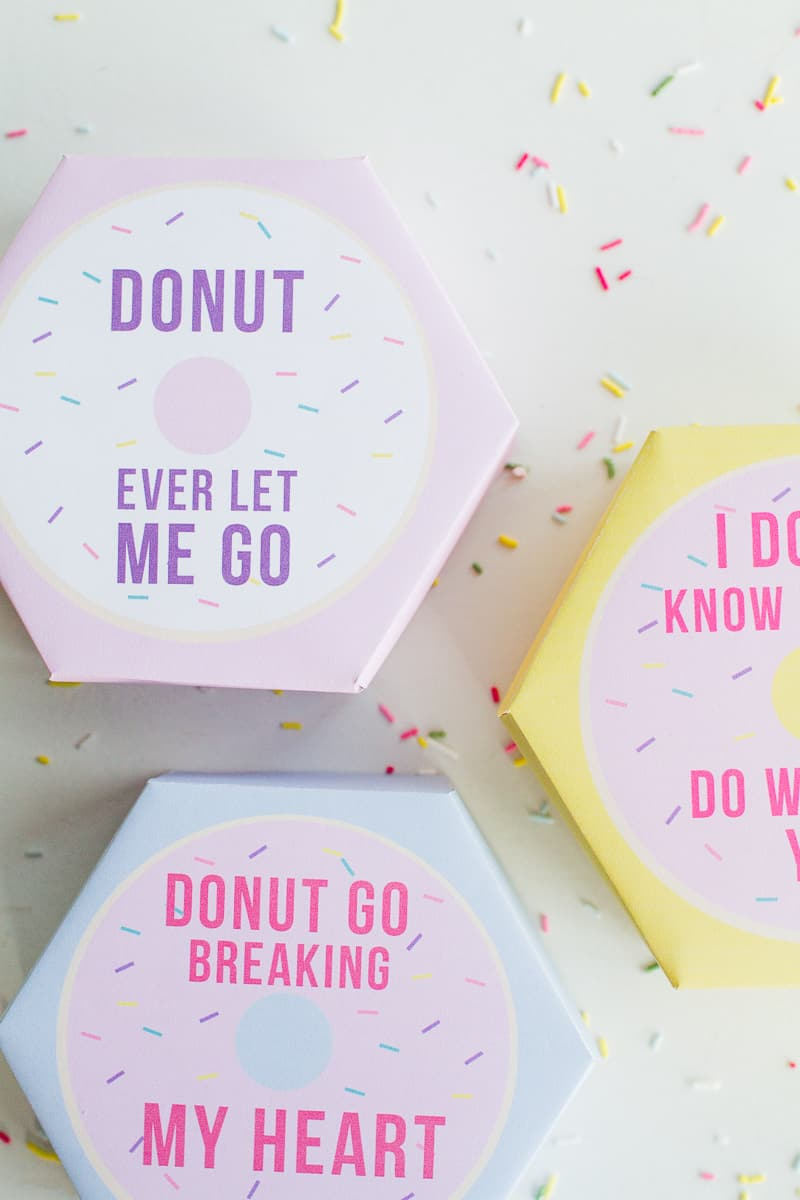 DIY donut boxes valentines day puns doughnuts case cute fun tutorial free printable-4