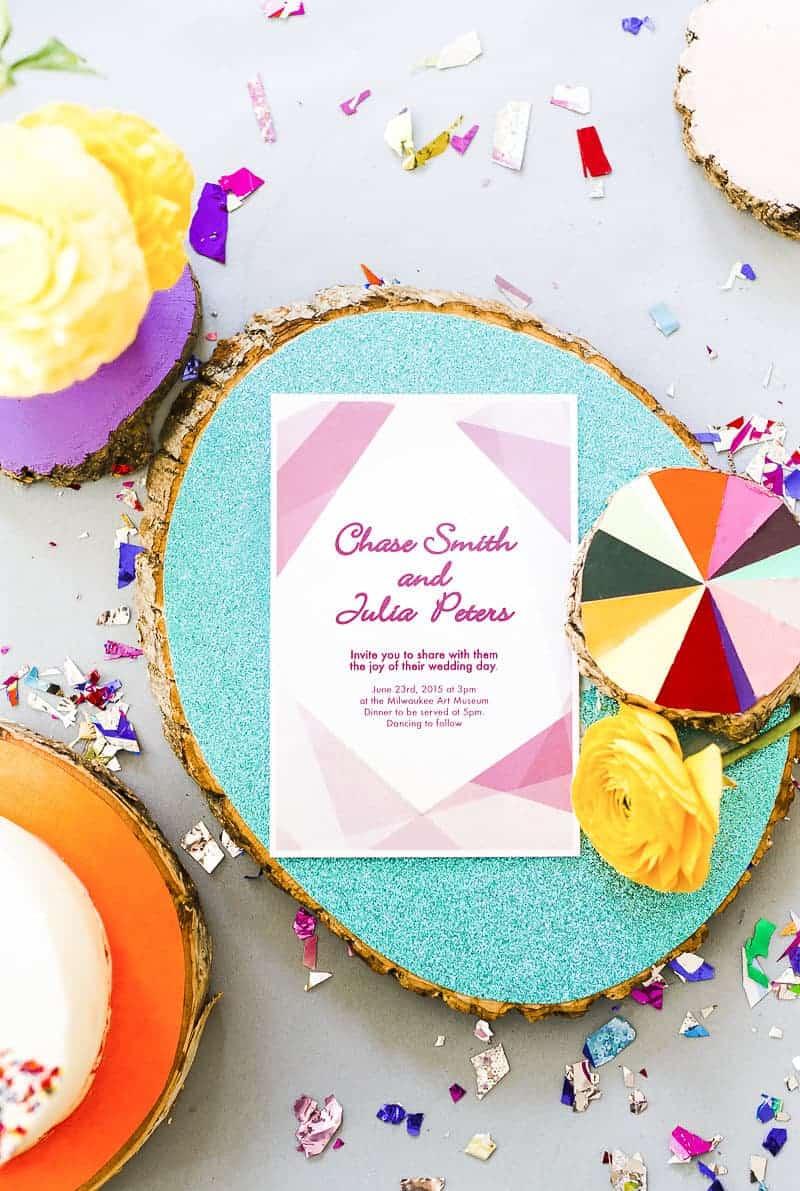 Geometric Prismatic colourful modern wedding inspiration unique fun 18