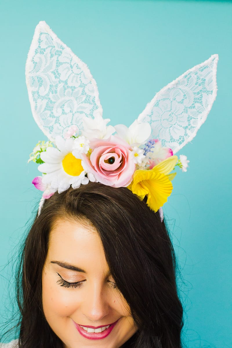 DIY bunny ears floral flower crown easter spring tutorial with faux flowers and lace flower girl accessories headband-5
