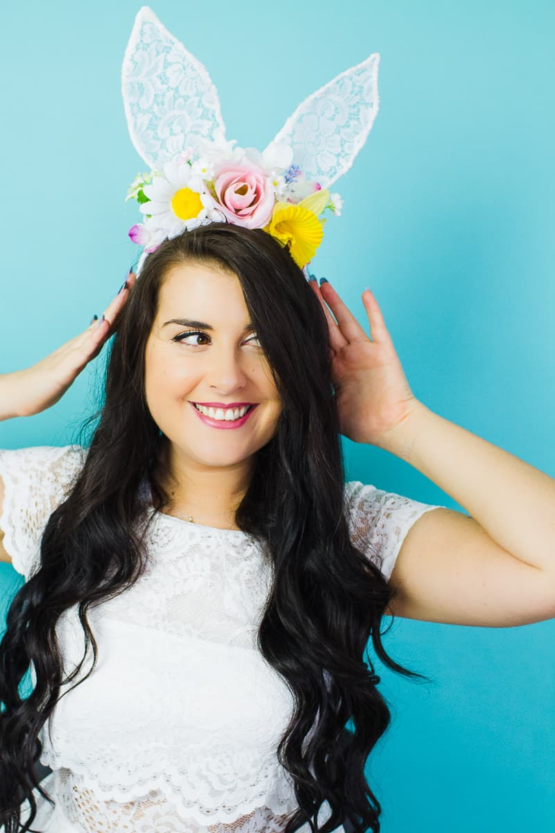 DIY bunny ears floral flower crown easter spring tutorial with faux flowers and lace flower girl accessories headband-6