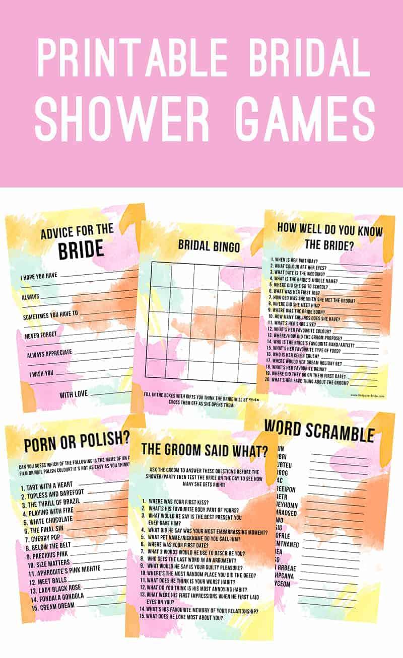 Bridal Shower 101 Games