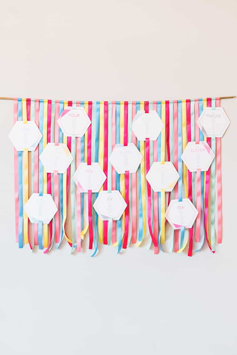 DIY colourful ribbon table plan unique alternative escort cards-1