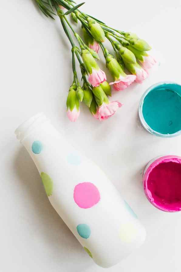 DIY polka dot painted bright colourful bottle tutorial wedding decor 2