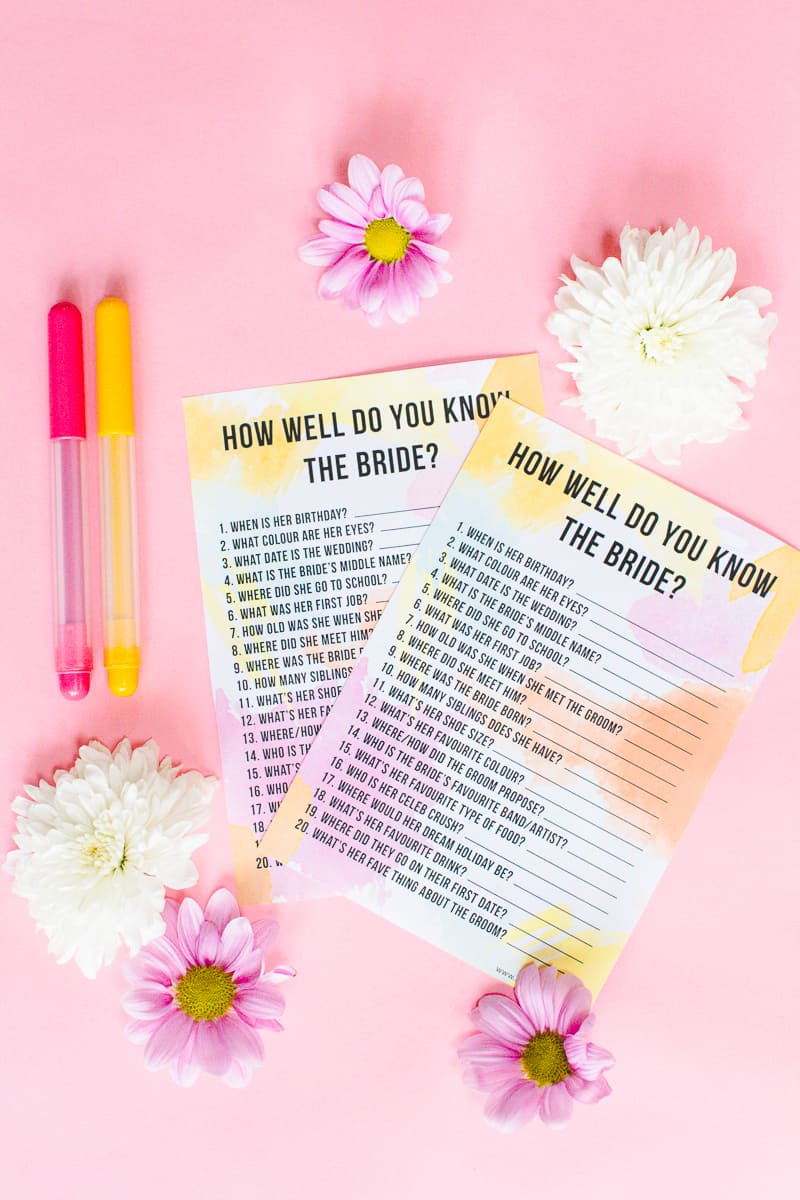 how well do you know the bride bachelorette game bridal shower hen party quiz 1