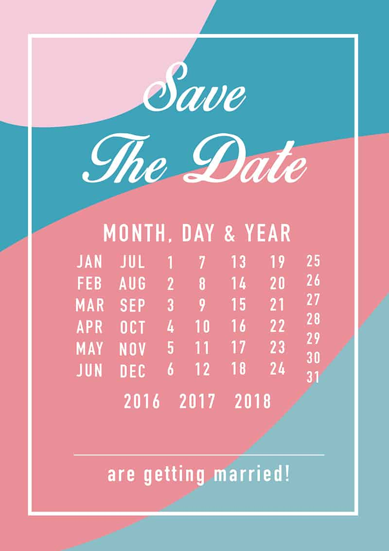 Modern Save The Date Colourful Calendar blue pink