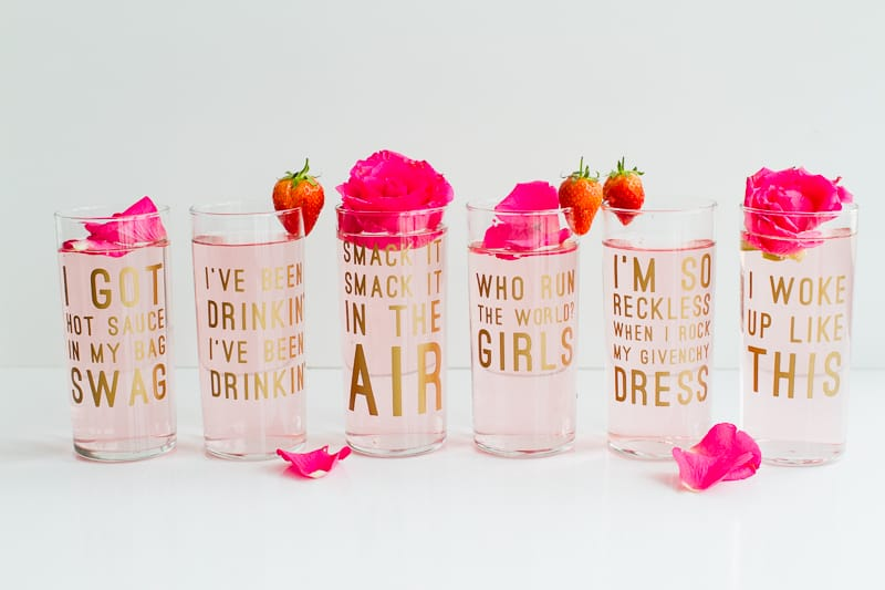 Beyonce Lemonade Lyric Quotes Glasses Cocktails Drinks Hen Party Bachelorette Song Fun Girl Power Queen B DIY Cricut Tutorial Window Cling-12