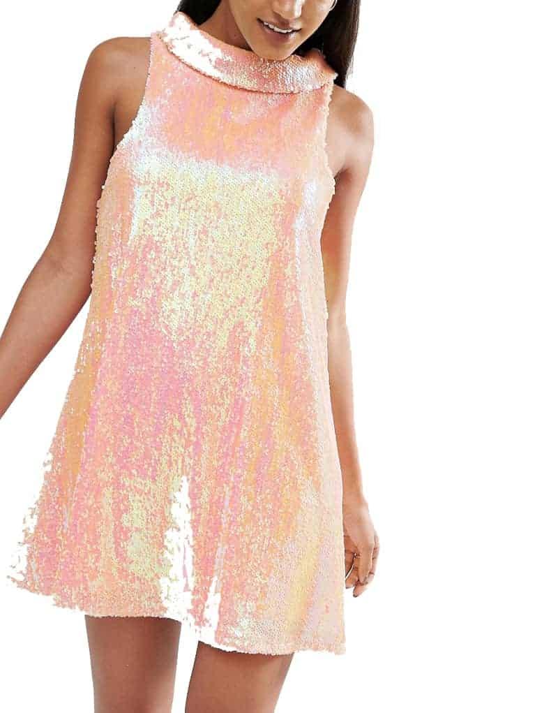 Illuminescent peach dress ASOS