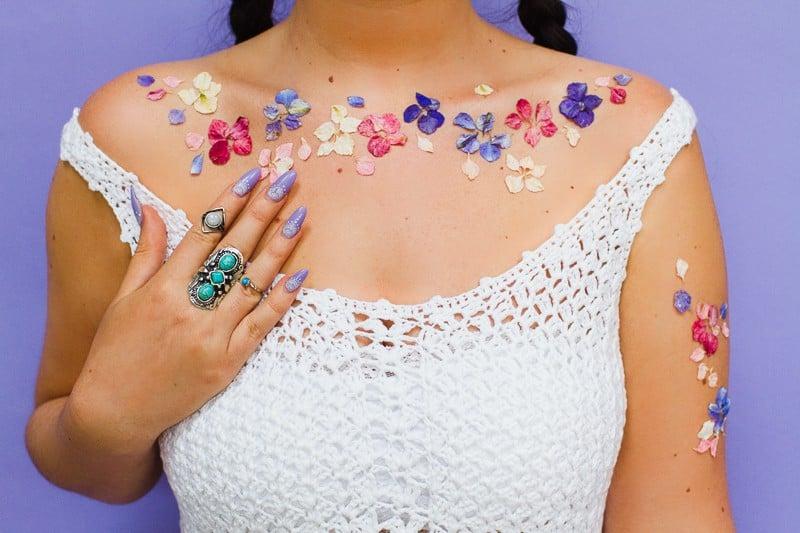 Flower Tattoos Temporary Festival Wedding Inspiration Ideas How to DIY confetti shropshire petals glastonbury style-9