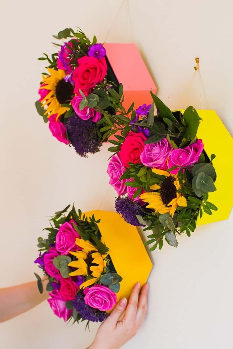 Hexagon-Flower-Boxes-Hanging-Wall-DIY