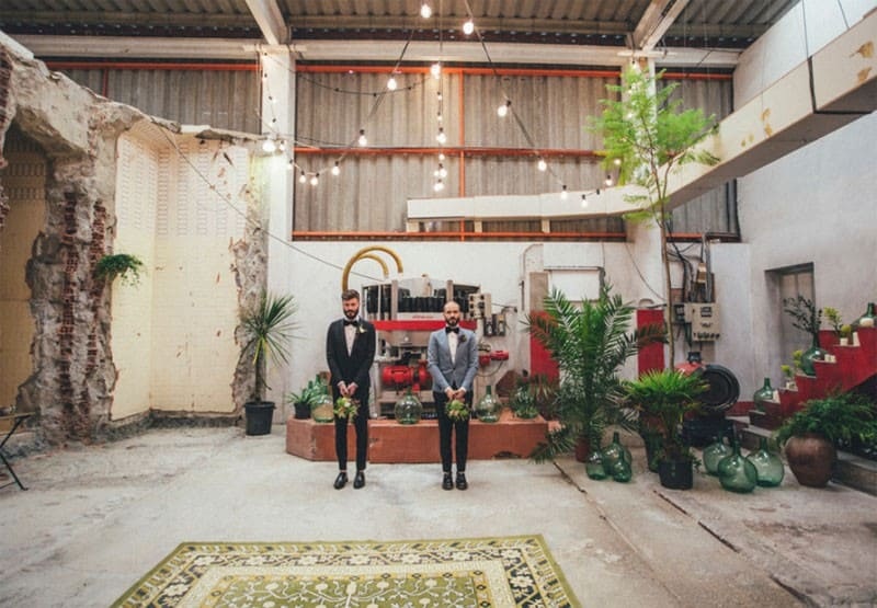 Abandoned Warehouse Wedding in Spain Alberto & Yago