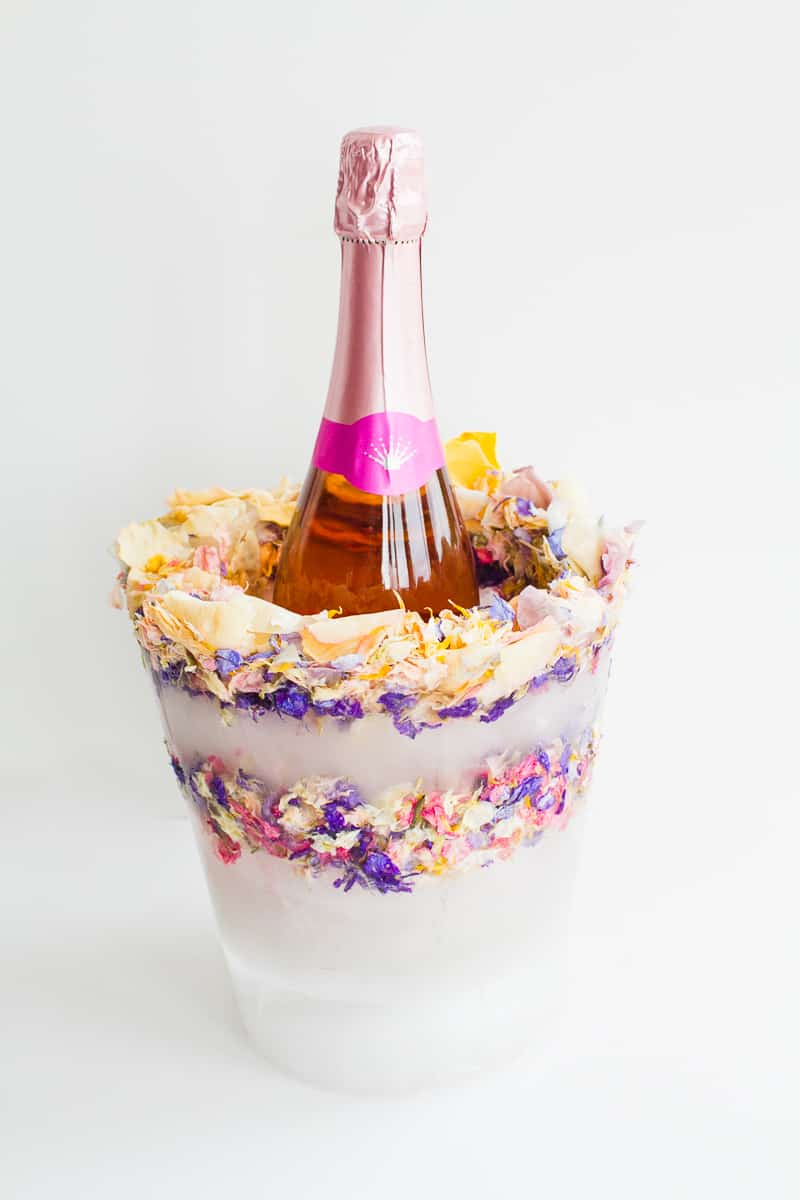 DIY Floral Flower Ice Bucket with Natural Confetti from Shropshire Petals Wine Cooler Champagne_-2