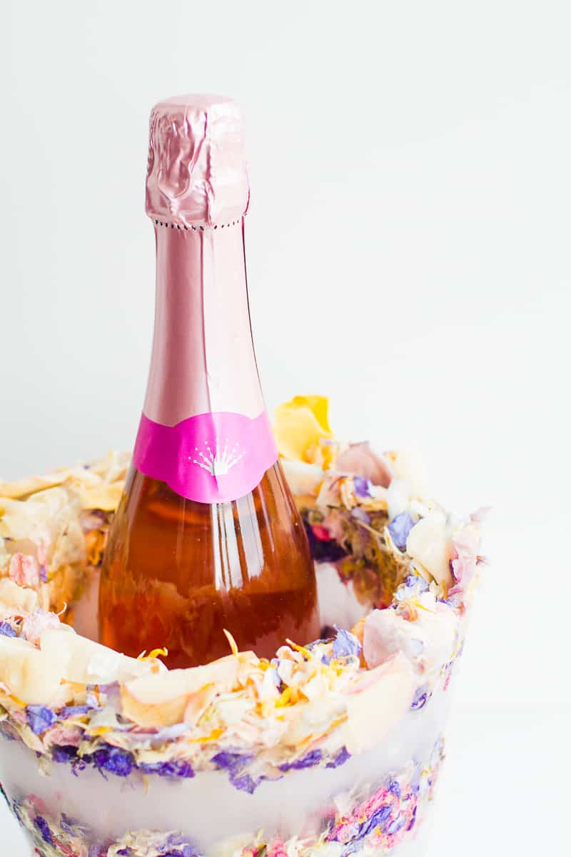 DIY Floral Flower Ice Bucket with Natural Confetti from Shropshire Petals Wine Cooler Champagne_-3