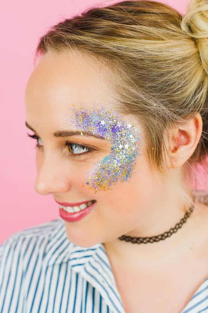 DIY Glitter Station Wedding Make Your own sparkle station glitter face makeup festival_-2
