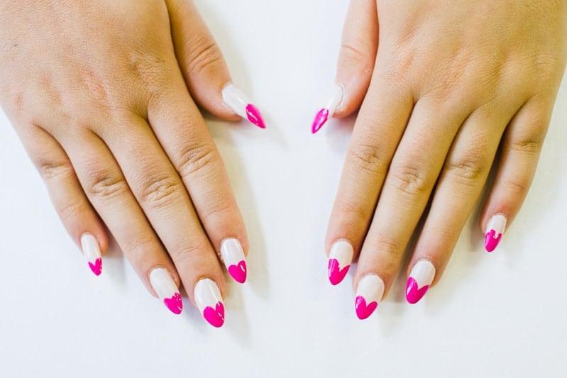 DIY Heart Manicure Pink Nail Design Cute valentines love flirty fun heart shaped nail art-4
