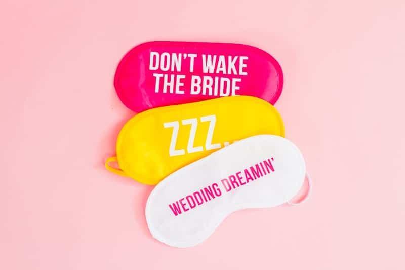 DIY eye maks bride wedding gift bridesmaids fun slogan sleep iron on Cricut-6