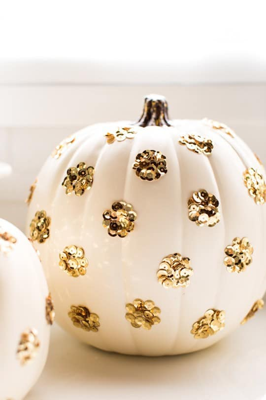 gold-polka-dot-sequin-pumpkins-for-halloween