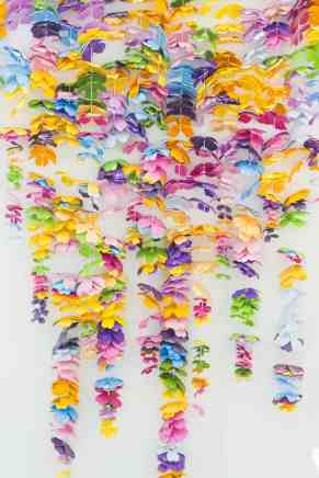 diy-floral-flower-backdrop-bright-colourful-altar-photobooth-cascading-modern-fun-wedding-9