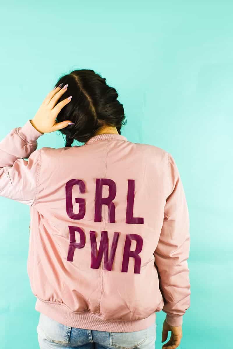 Edited DIY Slogan Bomber Jacker Girl Power GRL PWR Rose Gold Pastel Pink Fashion Tutorial Iron On Cricut-5