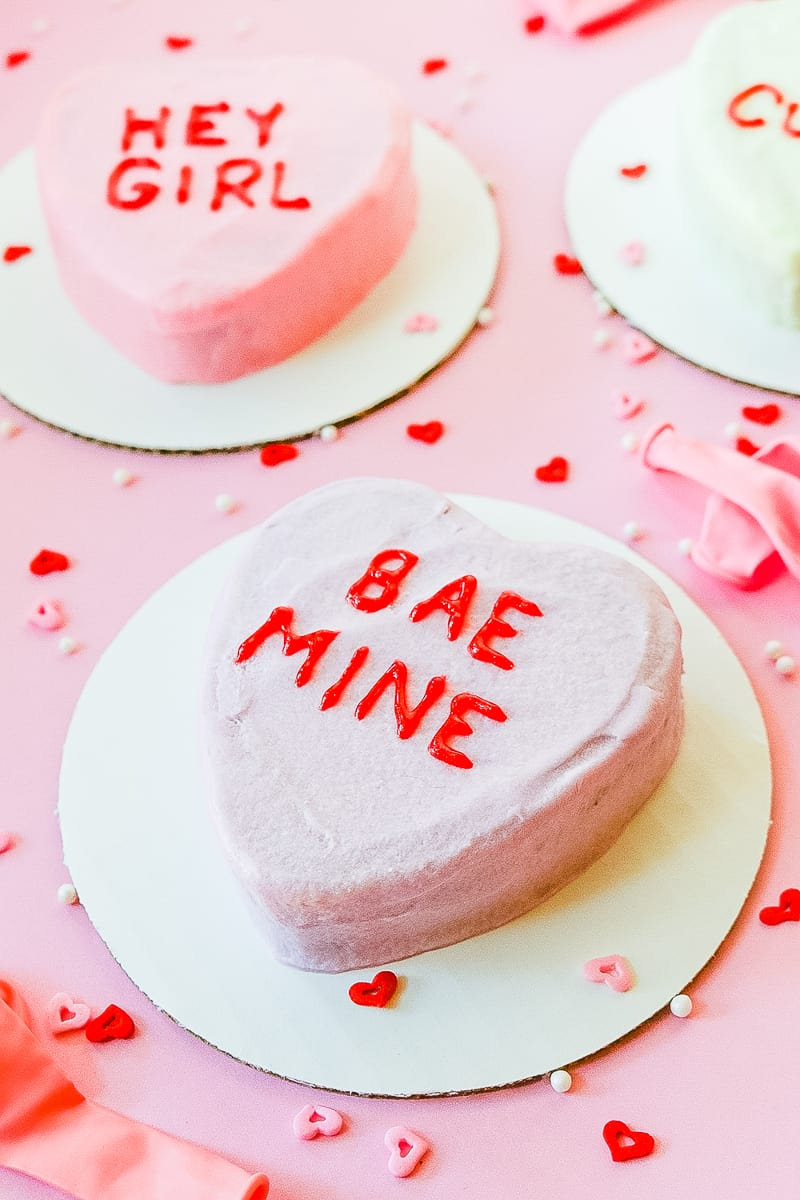 DIY Conversation heart cakes for valentines day recipe-2