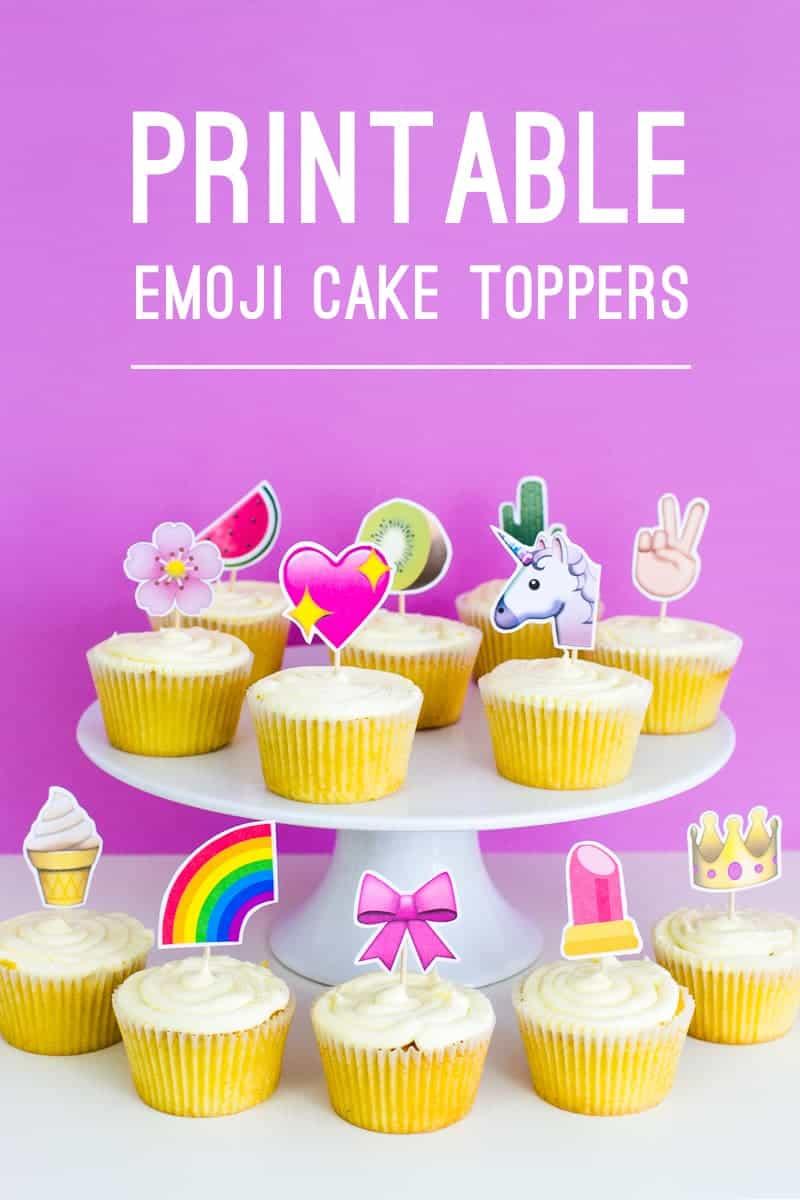 Emoji Cake Topper DIY Printable Download Fun cupcake heart unicorn watermelon rainbow_-20 Title