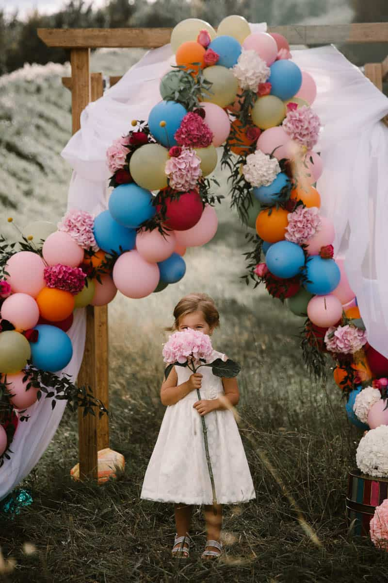 PLAYFUL & ROMANTIC KATY PERRY INSPIRED WEDDING WITH COLORFUL BALLOON ARCH (2)