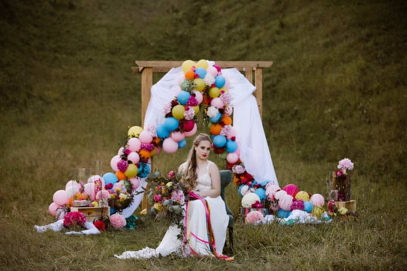 PLAYFUL & ROMANTIC KATY PERRY INSPIRED WEDDING WITH COLORFUL BALLOON ARCH (6)
