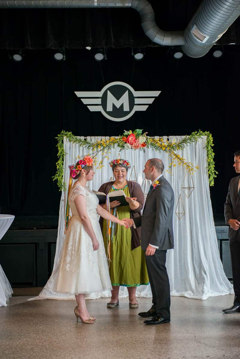 COLOURFUL GEOMTRIC ELOPEMENT AFTER PARTY RECEPTION IN A MUSIC HALL (14)