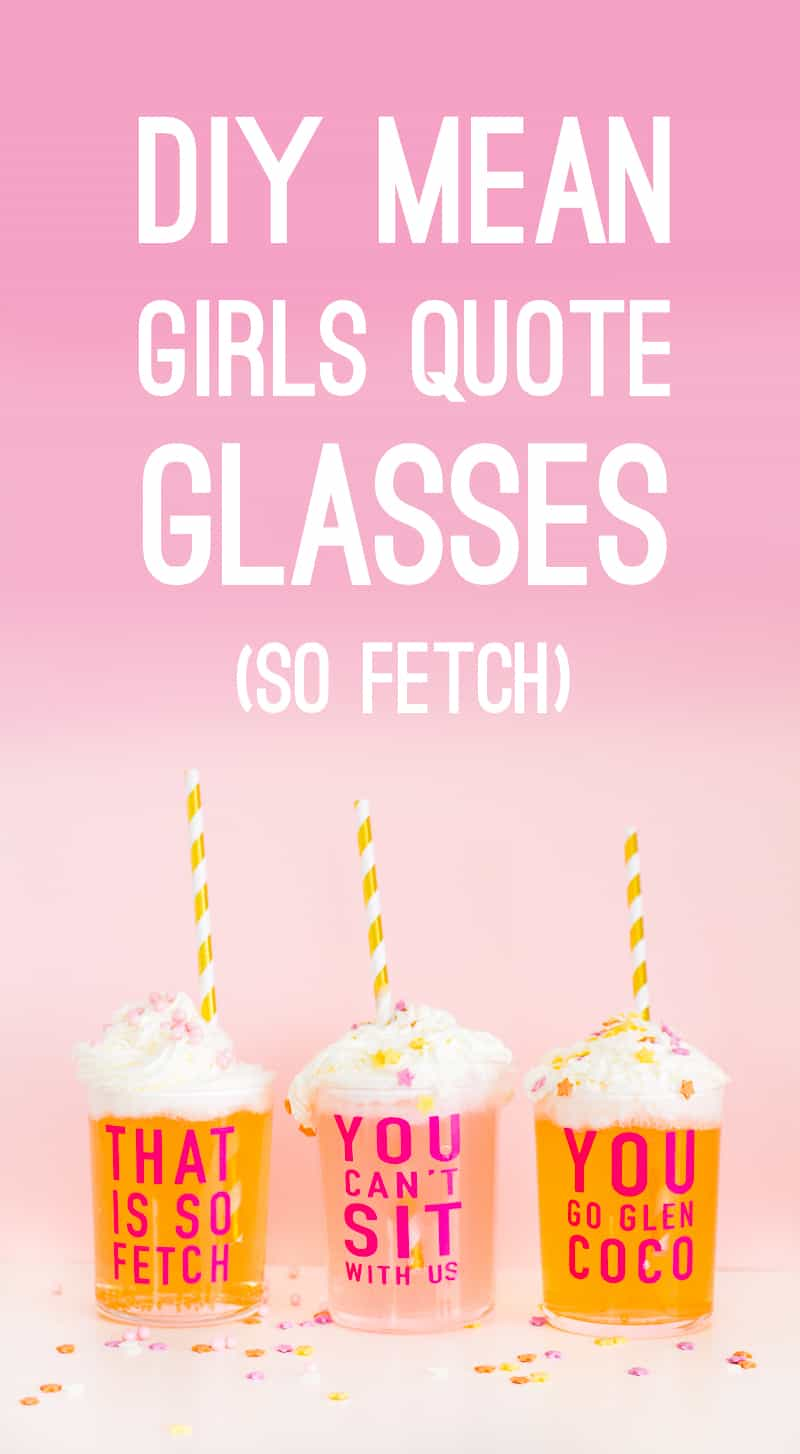 DIY Mean Girls Quotes Glasses vinyl stickers fun lyrics bridal shower bachelorette party hen pink Main