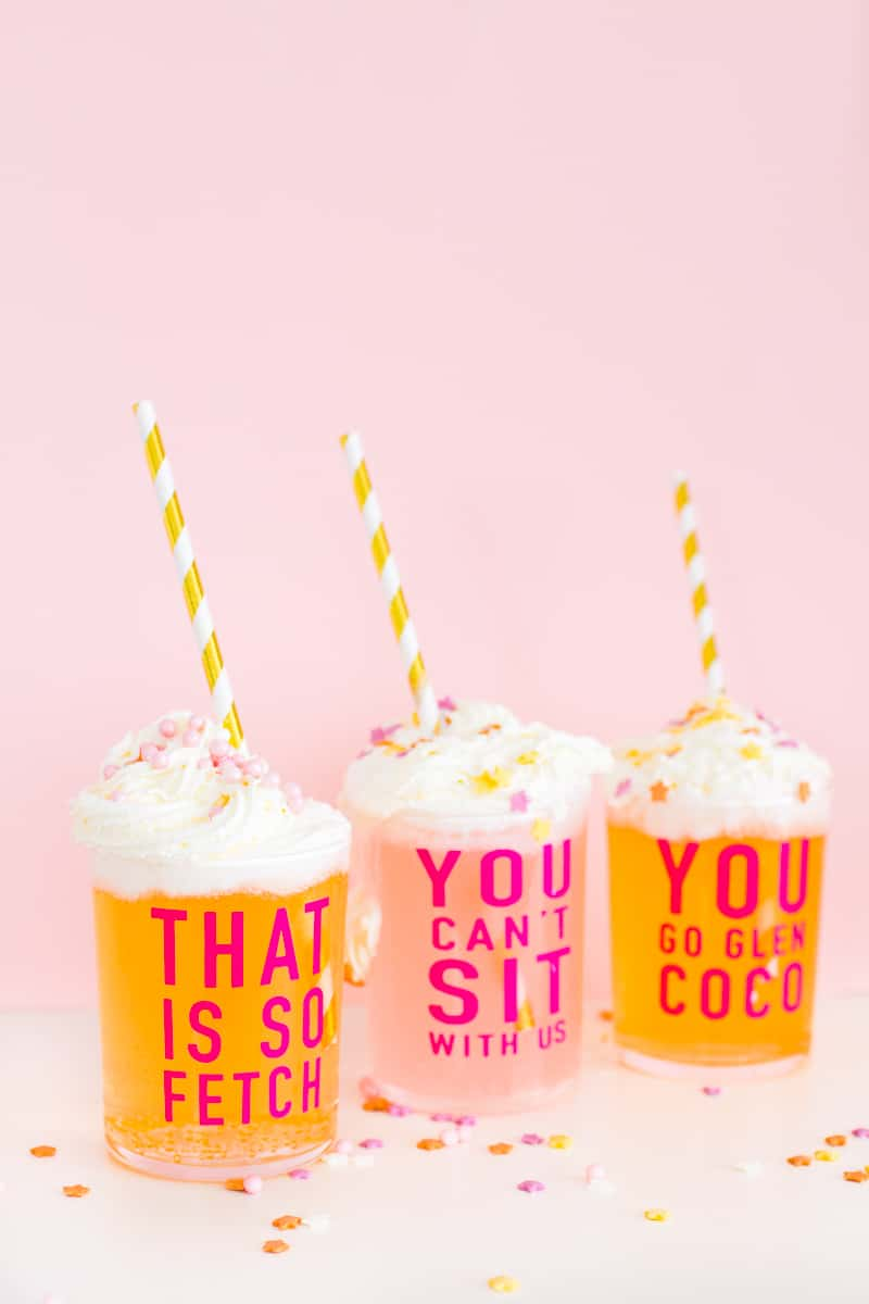 DIY Mean Girls Quotes Glasses vinyl stickers fun lyrics bridal shower bachelorette party hen pink_-10