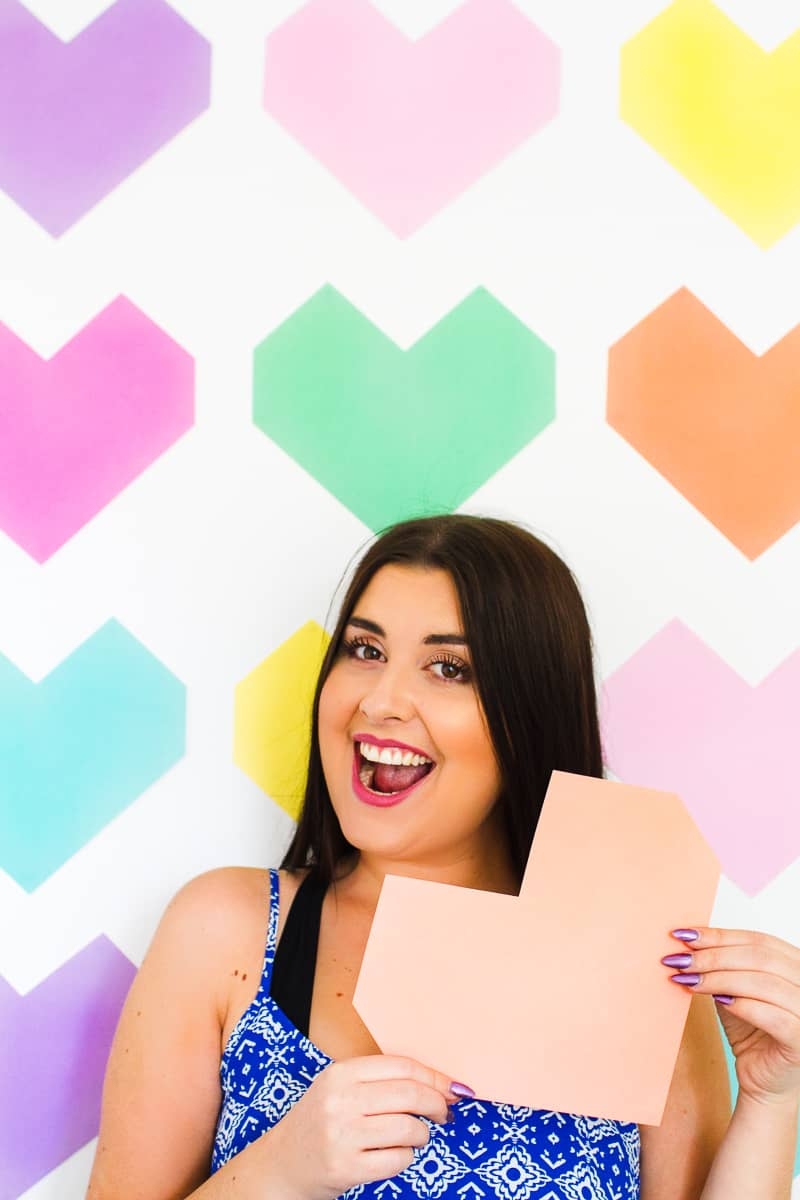 Easy DIY Backdrop Altar Paper Colourful Fun Geometric Heart Tutorial-8