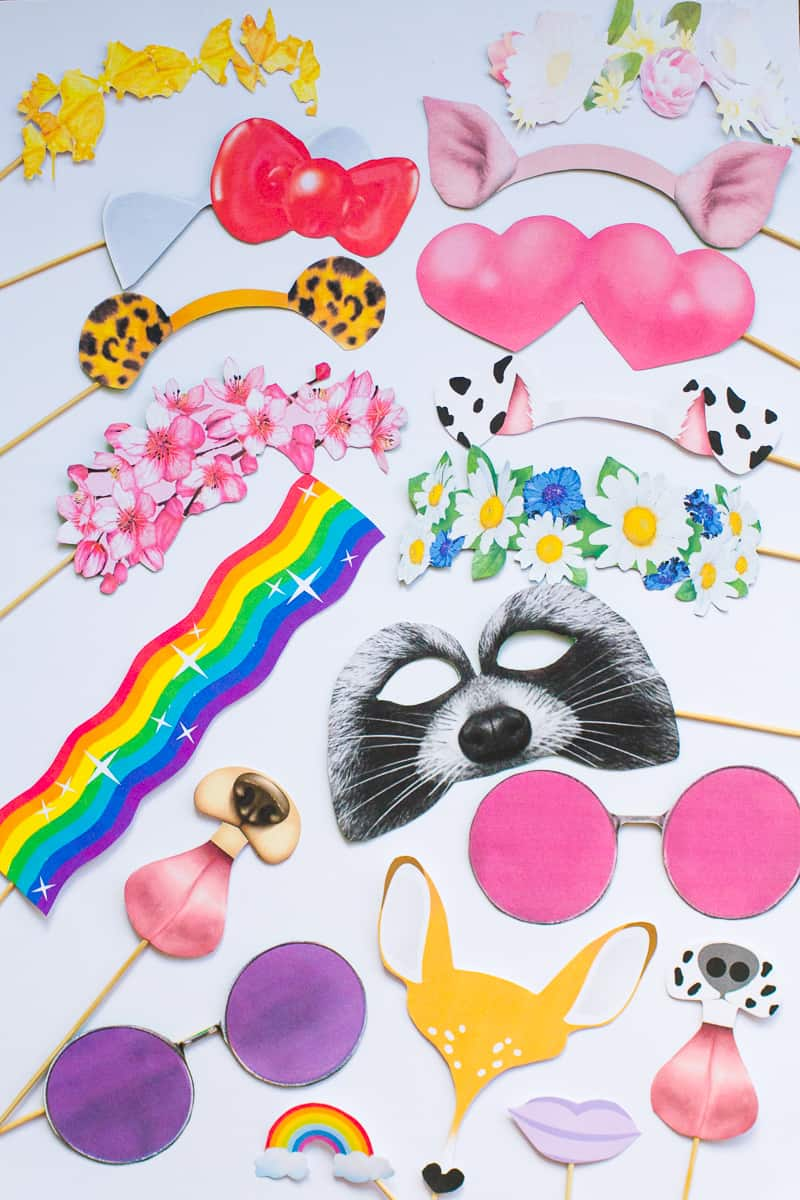 New Snapchat Filter Photo booth props Bunny Leopard ears hello kitty raccoon heart eyes flower crown glasses printable download-3