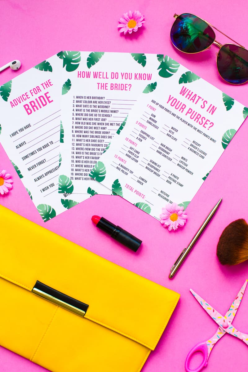 What's in your purse bag bridal shower game bachelorette party tropical theme games pack palm pink green-13