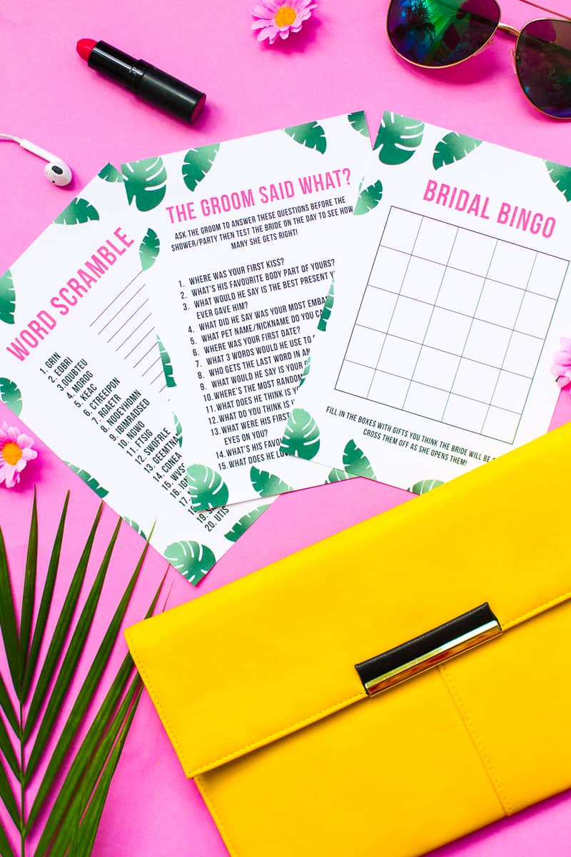 What's in your purse bag bridal shower game bachelorette party tropical theme games pack palm pink green-14