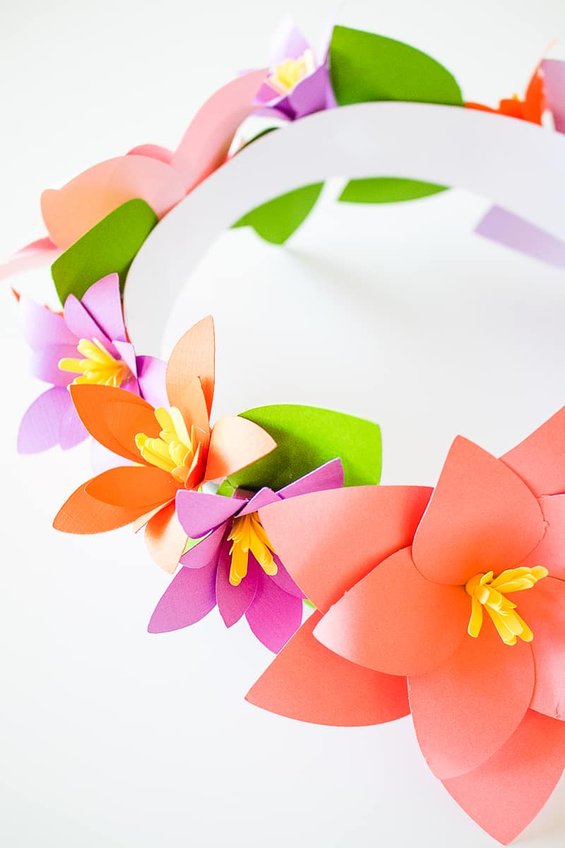 DIY Paper Flower Crown Make Your Own Colourful Fun Headpiece Papercraft-13