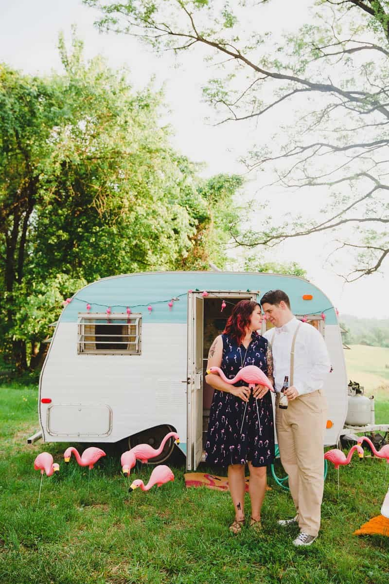 FLAMINGO THEMED ELOPEMENTS IDEAS IN A VINTAGE AIRBNB CAMPERVAN (15)