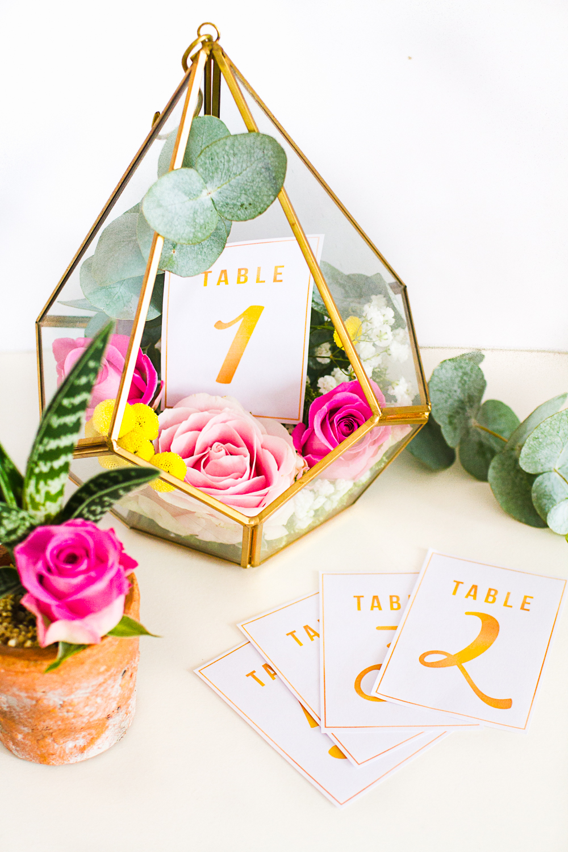 diy terrarium table numbers gold bespoke bride wedding blog