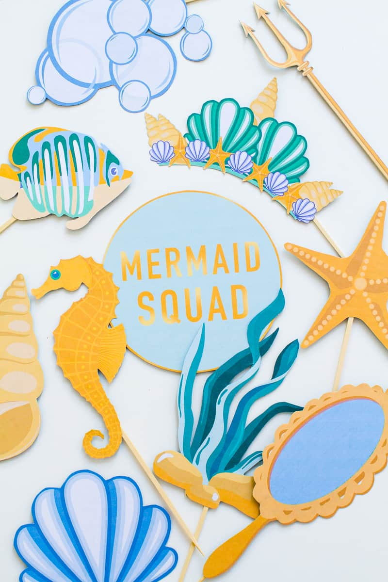 Mermaid themed photo booth props party under the sea printable.