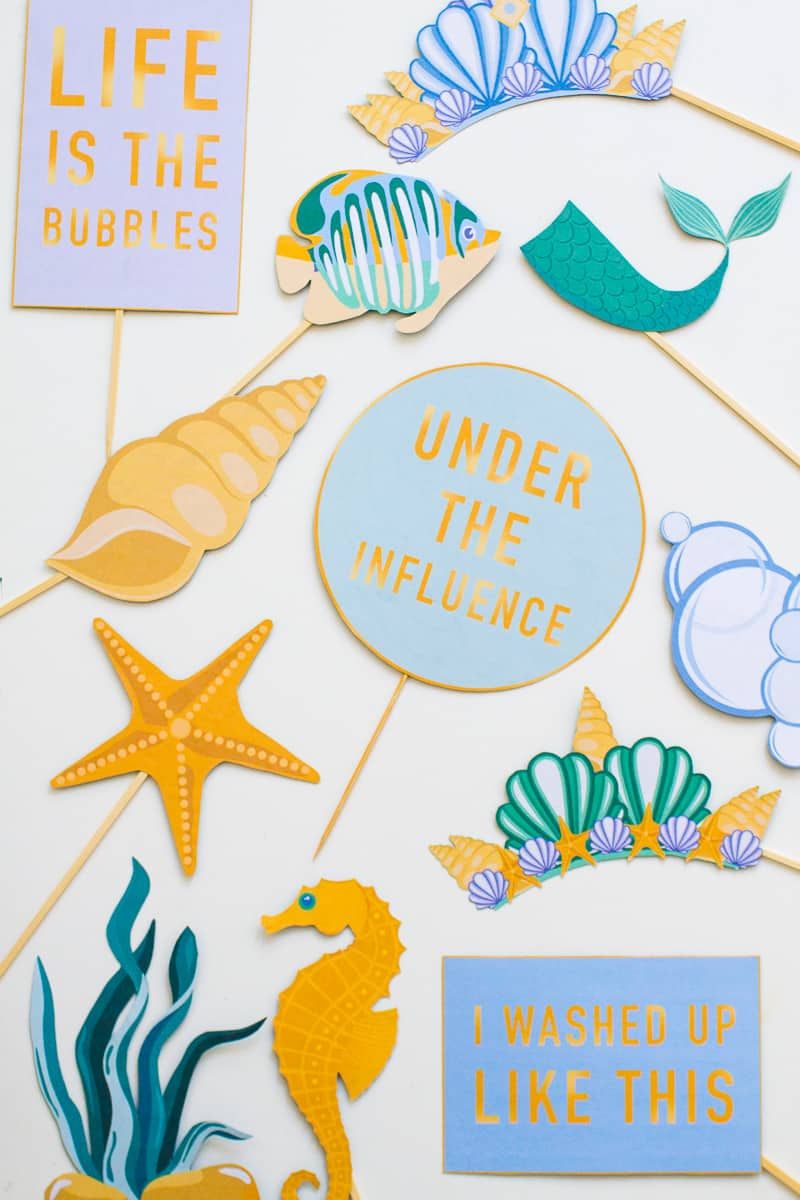 MERMAID THEMED PHOTO BOOTH PROPS PARTY UNDER THE SEA PRINTABLE ...
