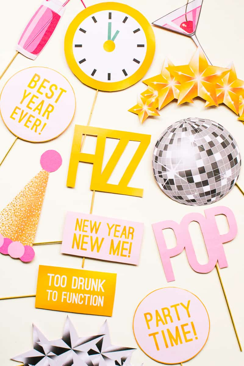 printable new years eve party photo booth props